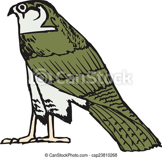 Sketch Illustration Of Falcon Ancient Egyptian Symbol