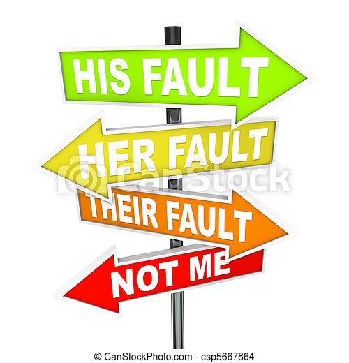 falha, -, culpa, mudar, seta, sinais, não, meu - csp5667864