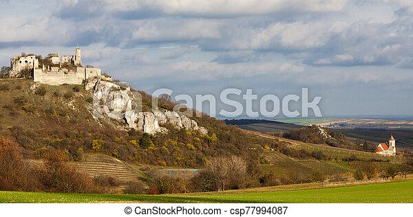 Falkenstein Castle in autumn, Austria - csp77994087