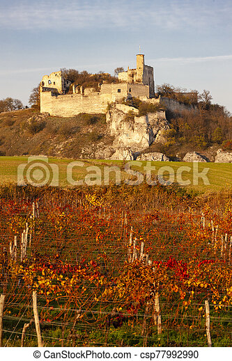Falkenstein Castle in autumn, Austria - csp77992990