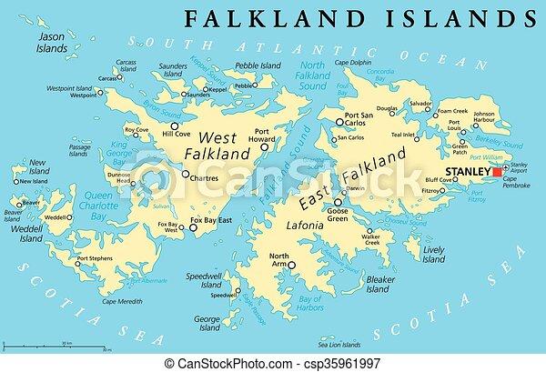 Falkland island political map Falkland islands also eps vectors