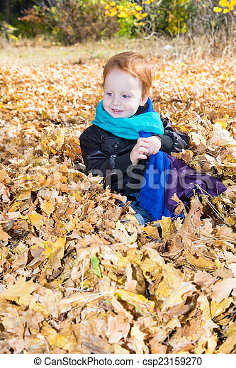 Fall. Adorable child boy with leaves in autumn park - csp23159270