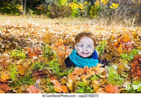 Fall. Adorable child boy with leaves in autumn park - csp23159273
