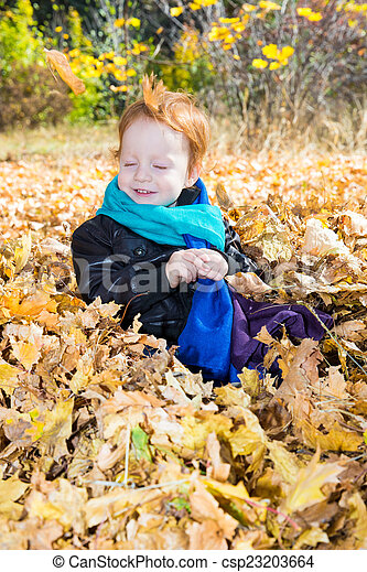 Fall. Adorable child boy with leaves in autumn park - csp23203664