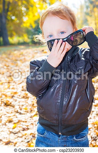 Fall. Adorable child boy with leaves in autumn park - csp23203930
