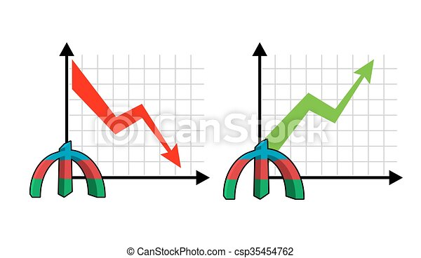 Fall and rise of courses manat , oil. Red down arrow. Green up arrow. Reduction quotes Azerbaijan currency, money. Increase of sales volumes of market for cash. Set graph for business infographics - csp35454762