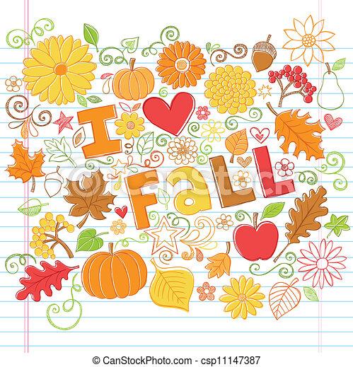 Fall Autumn Sketchy Doodles Vector - csp11147387
