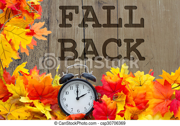 fall back time change autumn leaves and alarm clock with grunge rh canstockphoto com fall back clipart daylight saving time fall back clipart free