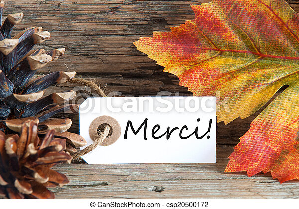 Fall Background with Merci Label - csp20500172