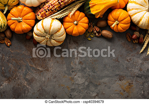 Fall background with pumpkins - csp40394679