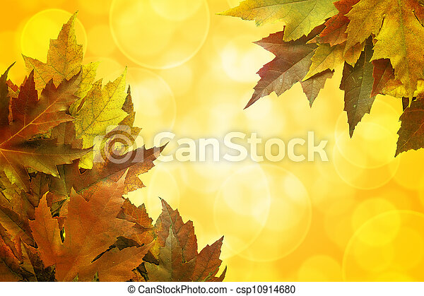 Fall Color Maple Leaves Background Border - csp10914680