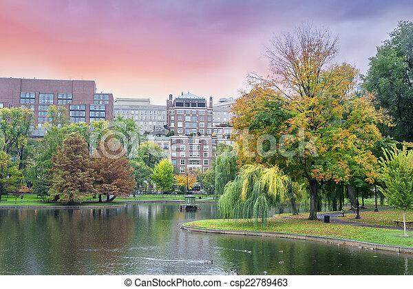 Fall colors Boston Common and Public Garden, Boston USA - csp22789463