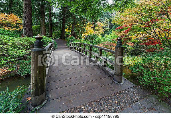 Fall Colors by the Foot Bridge - csp41196795