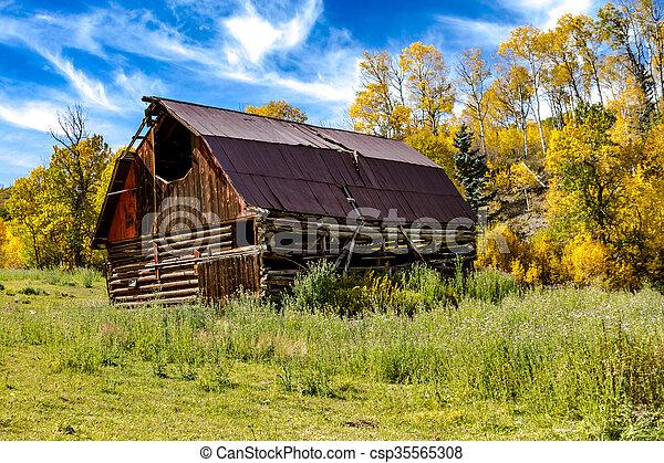 Fall Colors in Colorado Mountains - csp35565308