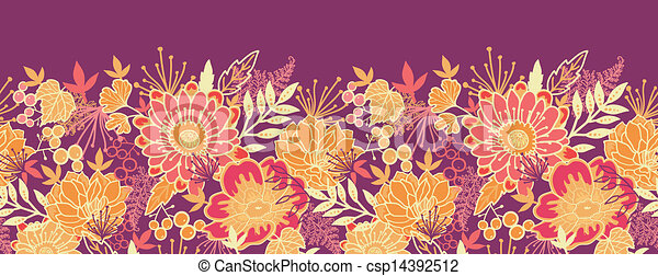 Fall Flowers And Leaves Horizontal Seamless Pattern Border Vector
