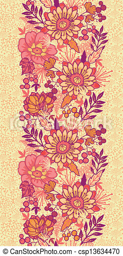 Fall Flowers Vertical Seamless Pattern Background Border Vector