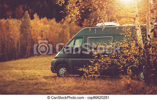 Fall Foliage RV Camper Van Road Trip - csp86620281