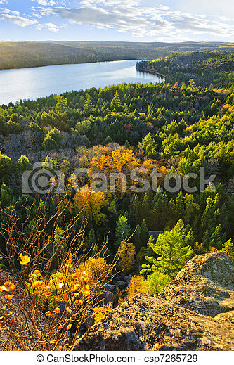 Fall forest and lake top view - csp7265729