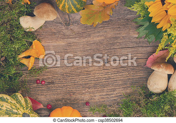 Fall frame on wood - csp38502694