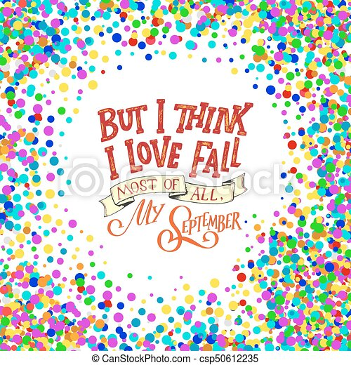 Fall Hand Written Lettering Quote And Autumn Motives. Lettering  Composition. Vector Element For Your