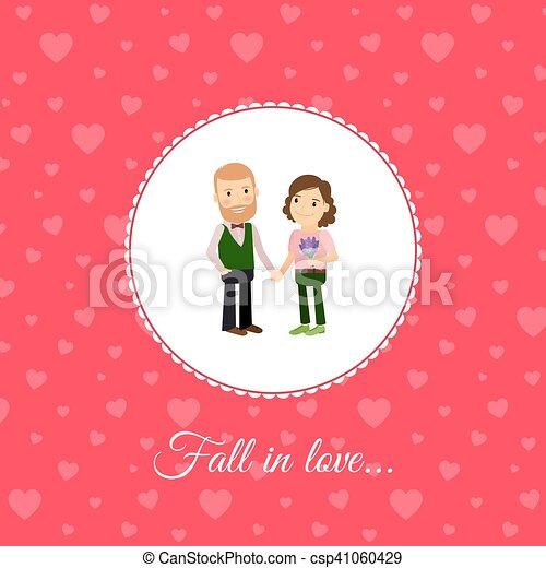fall in love couple card template csp41060429