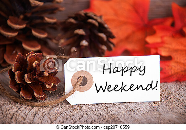 Fall Label with Happy Weekend - csp20710559