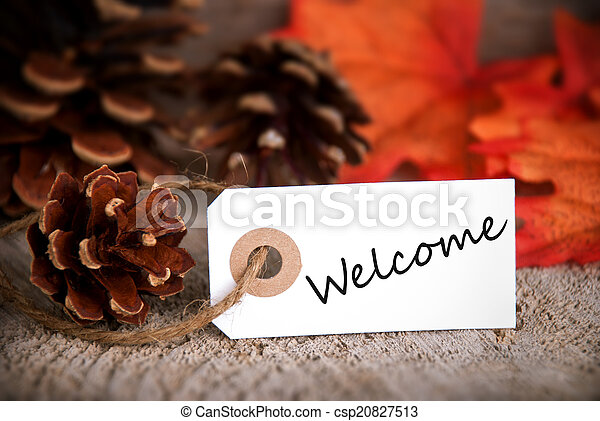Fall Label with Welcome - csp20827513