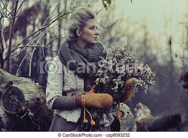 Fall lady - csp8093232