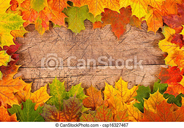 Fall Leaf Border Maple On Rustic Wooden Background