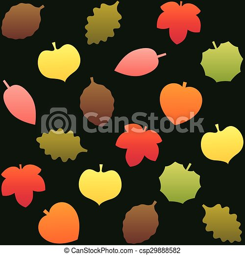 Fall Leafs Pattern Background Green - csp29888582
