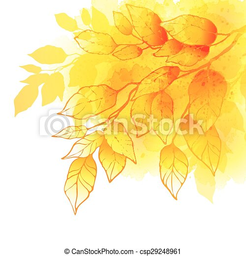 Fall leafs watercolor vector background - csp29248961