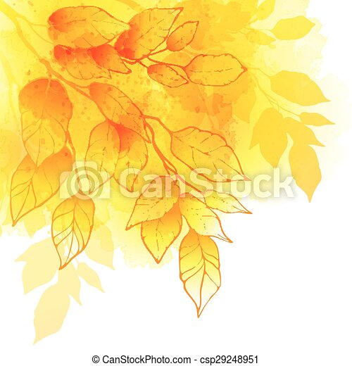 Fall leafs watercolor vector background - csp29248951