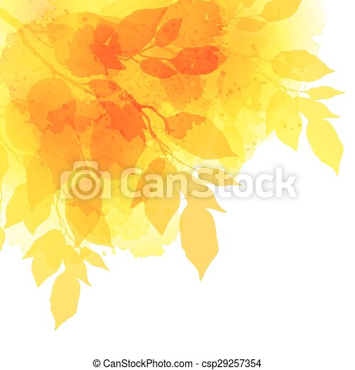 Fall leafs watercolor vector background - csp29257354