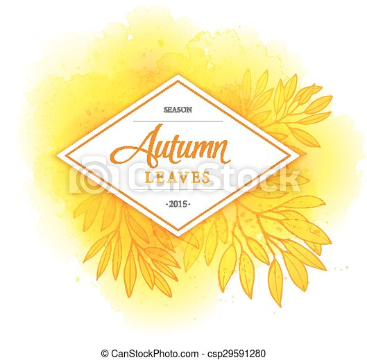Fall leafs watercolor vector background - csp29591280