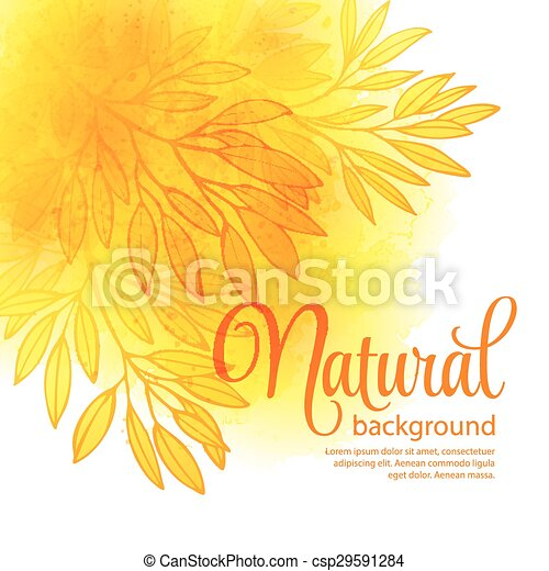 Fall leafs watercolor vector background - csp29591284