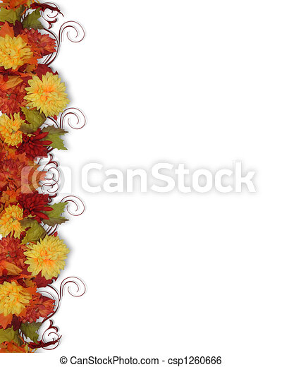 Fall Leaves and Flowers border - csp1260666