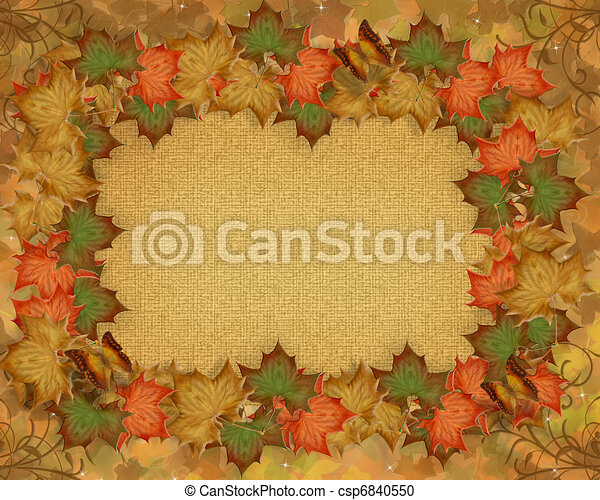 Fall Leaves Autumn border - csp6840550