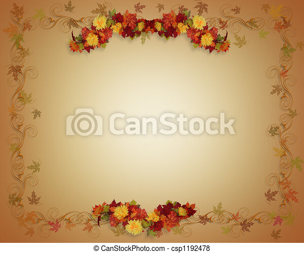 Fall Leaves Autumn card - csp1192478