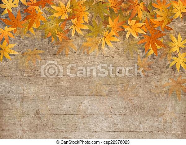 Fall leaves border - autumn design - csp22378023