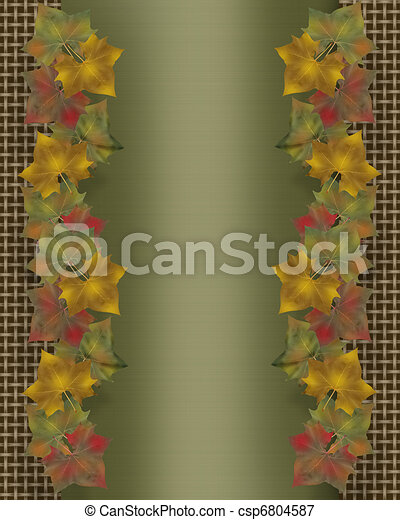 Fall leaves border template - csp6804587