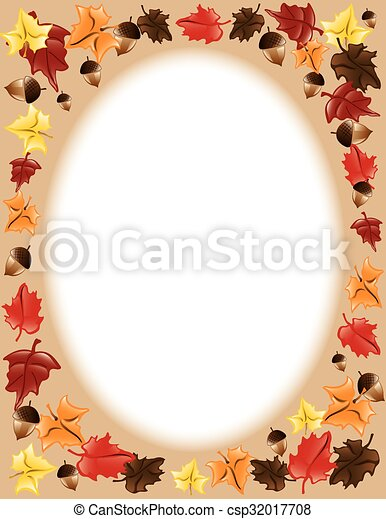 Fall Leaves border - csp32017708
