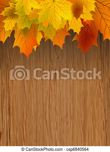Fall leaves making border on wooden. EPS 8 - csp6840564