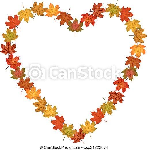 Fall leaves shaped heart frame - csp31222074