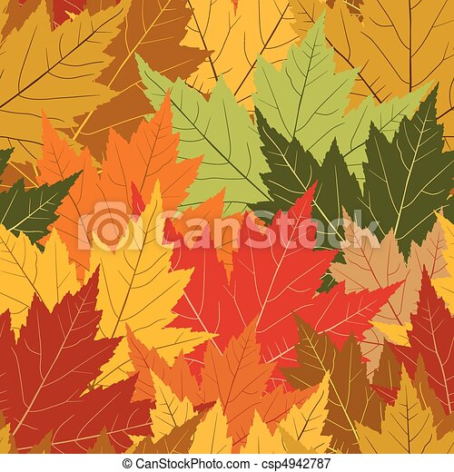 Fall maple leaf seamless repeating background - csp4942787