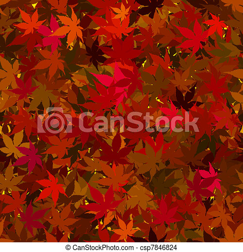 Fall Maple Leaves Seamless Background - csp7846824