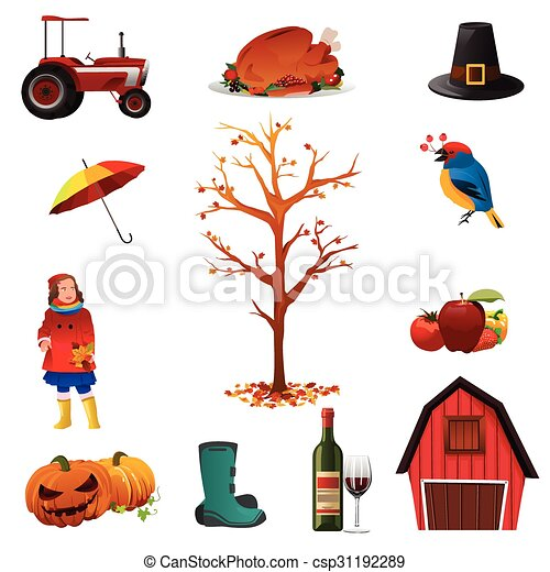 Fall or Autumn icons - csp31192289