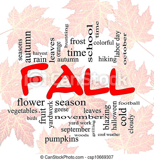 Fall or Autumn Word Cloud Concep on leaves - csp10669307