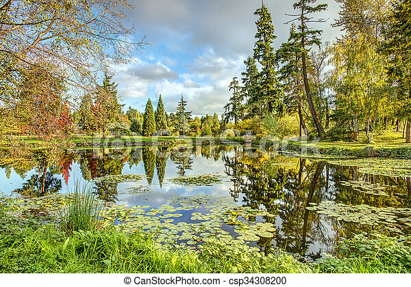 Fall Reflecting in Still Waters - csp34308200