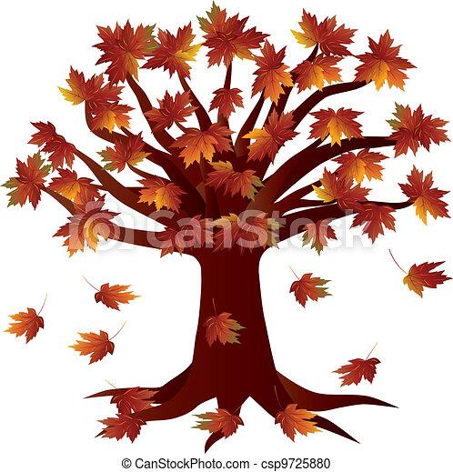 Fall Season Autumn Tree Illustration - csp9725880