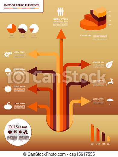Fall season infographic elements Autumn graphics template. - csp15617555